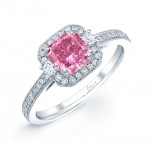 PINK DIAMOND WITH HALO ANTIQUE STYLE