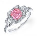 PRINCESS CUT PINK DIAMOND WITH EMERALD CUT DIAMONDS AND FULL HALO