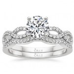 Round Brilliant Cut Diamond Infinity Ring and  Matching Wedding Band Set