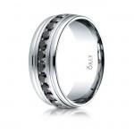 8.5mm Oval Polished Finish Black Diamond Eternity Comfort Fit Band