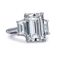 Emerald Cut Diamond with Two Step Cut Trapazoid Diamonds