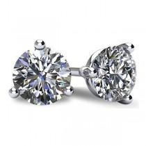 14k White Gold 3 Prong Classic Martini Round Brilliant Cut Diamond Stud Earrings