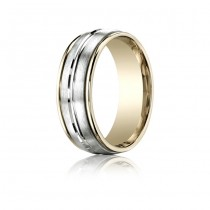 8mm Two Texture Two Tone Spin Cut Band