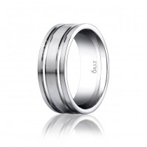 8mm Double Cut Brushed & Polished Finish Carved Band