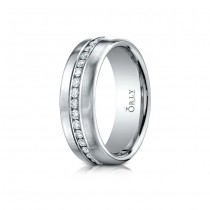 7.5mm Brushed Finish Partial Diamond Comfort Fit Band