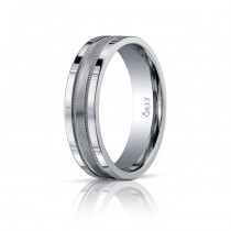 6mm Single Cut Brushed & Polished Finish Milgrain Carved Band