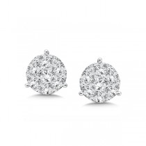 14K White Gold Diamond Star Cluster Studs look 2.00 carat