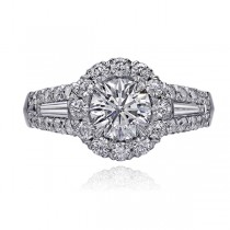 Round Crisscut Diamond with Tapered Baguettes surrounded Diamond Halo and Frame