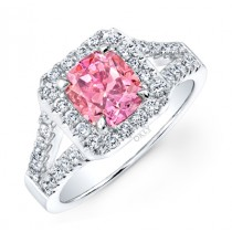 PINK DIAMOND WITH HALO AND SPLIT SHANK