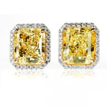 Radiant Yellow Diamond Stud Earrings