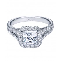 Princess Cut with Diamond Halo and Split Shank