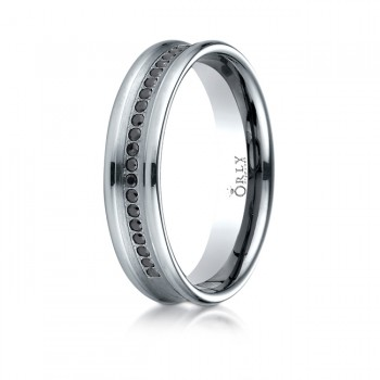 5.5mm Brushed & Polished Finish Spin Cut Partial Black Diamond Comfort Fit Band