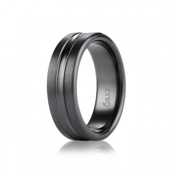 7.5mm Brushed & Polished Finish Spin Cut Black Titanium Comfort Fit Band