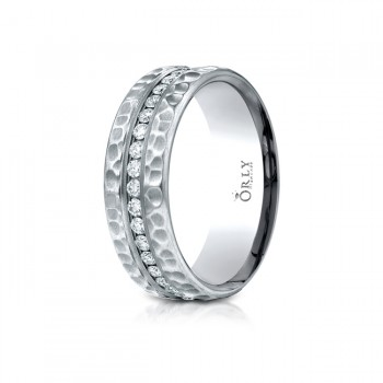 7.5mm Hammered Finish Partial Diamond Comfort Fit Band