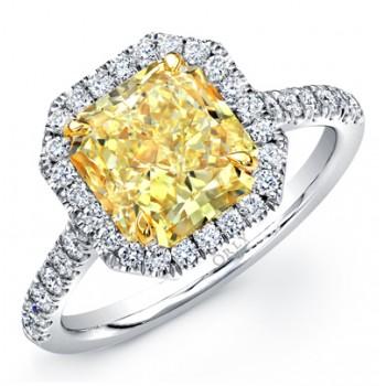 RADIANT CUT FANCY YELLOW DIAMOND WITH DIAMOND HALO FRAME