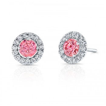 ROUND PINK DIAMONDS WITH HALO STUDS