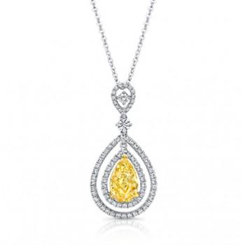 Pear Shape Yellow Diamond with Double Halo